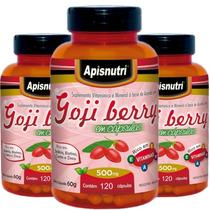Kit Com 3 Potes De Goji Berry Com 120 Cápsulas De 500mg Cada