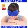 Máscara Para Dormir Azul + Protetor De Ouvido 3m Venda