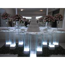Mesa De Vidro Com Iluminação, Pés De Vidro Iluminado