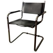 Cadeira Italiana Aço Inox E Couro 59x56x78 Cm Usada