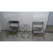 Kit Conjunto Cadeira Cromada Mesa Lateral Usada Barato