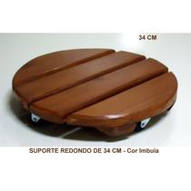 Suporte P/ Vasos C/ Rodízios - Redondo - 35 Cm - Imbuia
