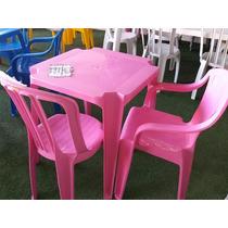 8 Mesas Com 32 Cadeiras Bistrô Amarela+rosa De Plástico Emp.