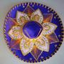Sombrero / Chapeu Mexicano Azul Com Dourado Decoração