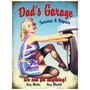Placas Decorativas Garage Pinups Dads Hot Rod Old School