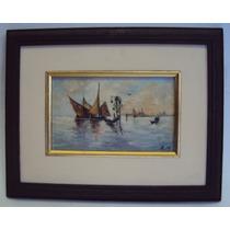 Pintura De 1947 Óleo Sobre Tela Barcos E Oratório Em Veneza