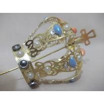 B. Antigo - Suntuosa Coroa Sacra Em Metal Dourado E Pedras