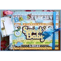 Álbum Fichário De Fotos / Recados Bebê Menino 2 - Scrapbook