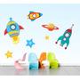 Adesivo Infantil Espaço Foguete Decoração Parede Quarto Bebe