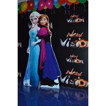 Display De Chão Gigante 1mt. Duplo Anna E Elsa Frozen+brinde