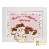 Quadrinho/ Porta Maternidade Com Frase Bonecas Irmãs