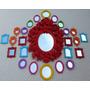Kit 25 Espelhos Decorativos Coloridos Com Moldura Em Resina