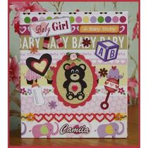 -=- Álbum C/ Caixa 80 Fotos Bebê Menina - Scrapbook -=-