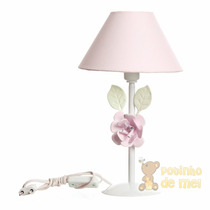 Abajur Metal Flor Grande Rosa Quarto Bebê E Infantil