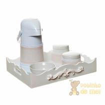 Kit Higiene Bandeja Resina Arabesco Com Capa Bebê E Infantil