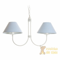 Lustre Branco Cúpulas Com 2 Lâmpadas Quarto Bebê Infantil