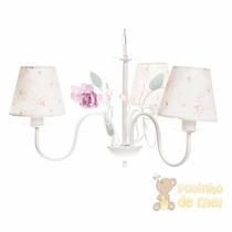 Lustre 3 Lâmpadas Flores E Borboletas Quarto Bebê Infantil