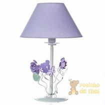 Abajur Metal Floral Lilás Quarto Bebê E Infantil