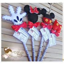 20 Lembrancinhas Festa Mickey Minnie Ponteira Lápis Feltro