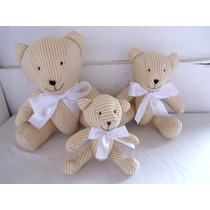 Urso Tecido Bege E Branco Decoração Bebê Para Nicho Enxoval