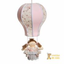Lustre Balão Balãozinho Acinturado Rosa Cesta Menina Bebê
