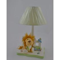 Abajur Luminaria Leão Safari Floresta Bebê Infantil Zoo Luz