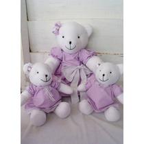 Ursinha Lilás Ursa Tecido Decoração Quarto De Bebê Menina