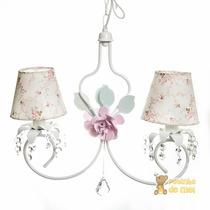 Lustre Branco C/ Cristais E Flores Rosa Quarto Bebê Infantil