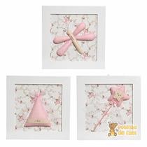Trio Quadros Decorativos Quarto Bebê Infantil Fada Madrinha