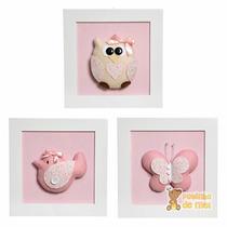Trio Quadros Decorativos Quarto Bebê Infantil Animais Menina