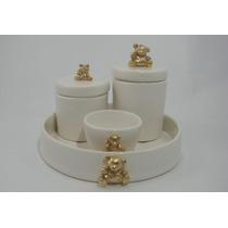 Kit Higiene Ursinho Porcelana Cerâmica Cotonete Bebê Algodão
