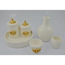 Kit Higiene Coroa Porcelana Cerâmica Algodão Cotonete Bebê