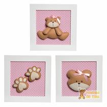 Trio Quadros Decoração Quarto Bebê Infantil Ursa Ursinha