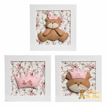 Trio Quadros Decoração Quarto Bebê Infantil Ursa Princesa
