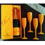 Champagne Veuve Clicquot Brut 750ml + 4 Taças