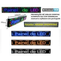 Painel De Led, Letreiro Digital Indoor Outdoor 1.00m X 20cm