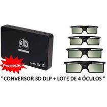Conversor 3d Dlp Ready P/ Todos Projetores + 4 Óculos 3d