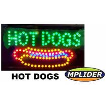Letreiro Placa Painel Luminoso Em Led Escrito Hot Dogs