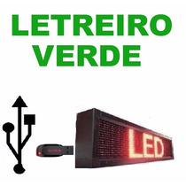 Painel Led Letreiro Digital Usb 100x20cm Verde