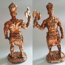 Imagem Em Resina-xangô-25cm-pintura Metalizada