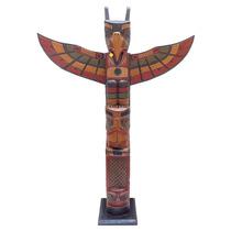 Escultura Totem Canadense Antik Artesanato Em Madeira 100cm