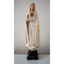 Imagem Nossa Senhora Fátima Coração 35cm Calcário E Resina