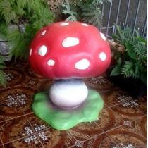 Cogumelo Sininho 67cm Altura Escultura Em Isopor Fibrado