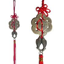 Amuleto Chinês Feng Shui Oito Moedas Chinesas E Laço De Seda