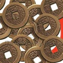 50 Moedas Feng Shui Com Fita Vermelha (i Ching)
