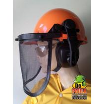 Capacete Segurança Abafador Ruidos E Protetor Facial Em Tela