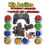 Kit Arcade 10 Botões Acrilico Comando Controle Usb Chicote