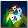 Quadro Decorativo Gravura Tela Painel Cubismo Araras3 70x70