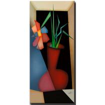 Quadro Decorativo Gravura Tela Painel Cubismo Vaso 3 70x30