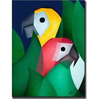 Quadro Decorativo Gravura Tela Painel Cubismo Araras 2 50x40
